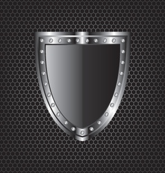 Metal textures and shield vector image vector image