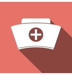 Nurse hat icon with long shadow vector image vector image