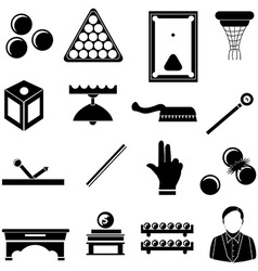 pool snooker billiards icons set vector image