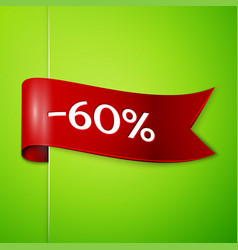 red ribbon with text sixty percent for discount vector image vector image