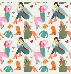retro fashion model seamless pattern vintage vector image