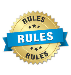 rules 3d gold badge with blue ribbon vector image vector image