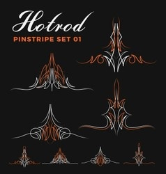 Set of two tone vintage pin striping line art vector