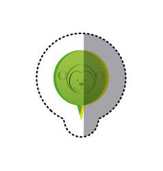 color sticker with monkey face in circular speech vector image vector image