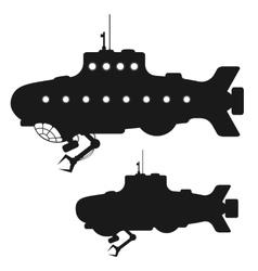 Set of black submarine silhouettes vector image