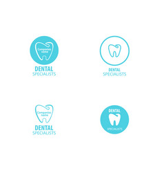 set of dental clinic logo tooth icon vector image