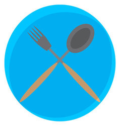 Spoon and fork crossed icon vector image