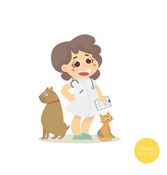 veterinary with dog and cat isolated on white vector image vector image