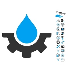 Water Service Icon With Copter Tools Bonus vector image