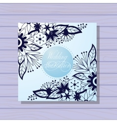 Wedding invitation blue colors on wooden vector image vector image