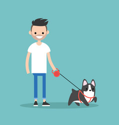 young smiling bearded man walking the dog flat vector image vector image