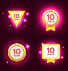 anniversary ten logo set vector image vector image