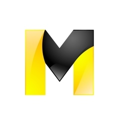 Creative yellow and black symbol letter M for your vector image vector image