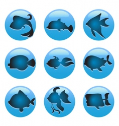 fish icons vector image vector image