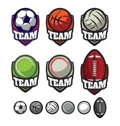 logos for sports teams with different balls vector image vector image