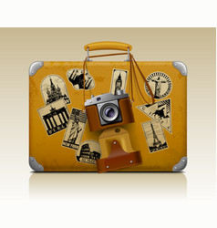 old small threadbare suitcase with a retro photo vector image vector image