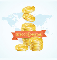 realistic detailed 3d golden bitcoins digital vector image vector image