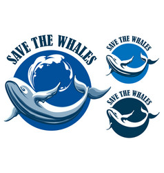 save the whales emblem set vector image