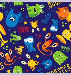seamless cute pattern made with monsters bubbles vector image vector image