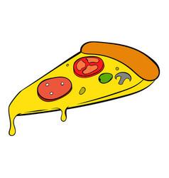 slice of pizza icon cartoon vector image