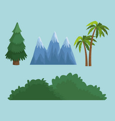 tree bush and mountain vector image