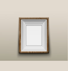 wooden frame for photos or paintings on wall vector image