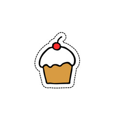 cupcake doodle icon vector image vector image