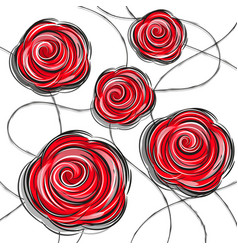 design red rose flowers vector image