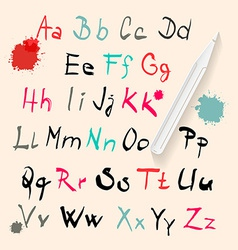 Funky Hand Written Alphabet Set Isolated on Retro vector image