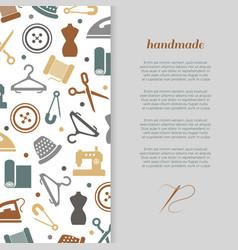 handmade handcraft sewing banner design vector image vector image
