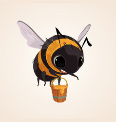 happy smiling flying bee character mascot vector image