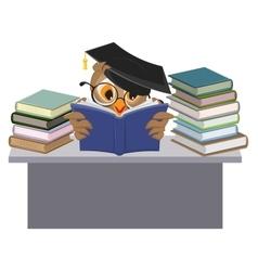 Owl in mortarboard reading book vector image vector image