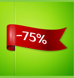 red ribbon with text seventy five percent discount vector image