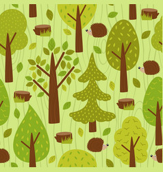 seamless pattern with hedgehog in forest vector image vector image