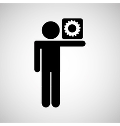 silhouette man icon work social network vector image vector image