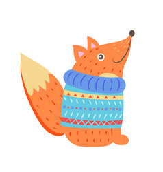 smiling fox in sweater vector image