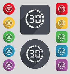 30 second stopwatch icon sign A set of 12 colored vector image
