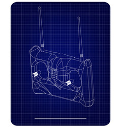 3d model of radio remote control on a blue vector