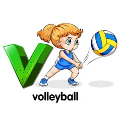 A letter v for volleyball vector