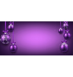 Abstract banner with purple christmas balls vector