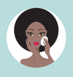 african american woman removing make up look happy vector image