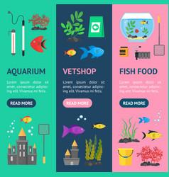 aquarium banner vecrtical set vector image