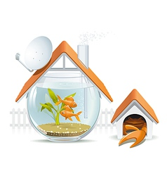 Aquarium home with a guard vector image