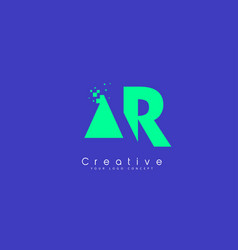 ar letter logo design with negative space concept vector image