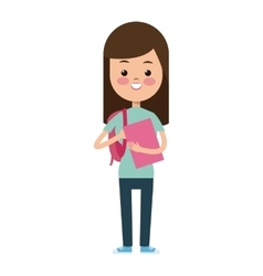 back to school funny girl pink book and bag vector image