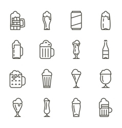 Beer glassware thin line icons vector