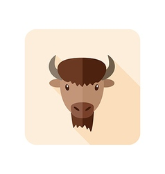 Bison buffalo ox flat icon Animal head vector