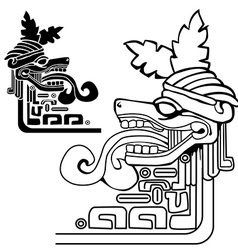 Black and white mayan idol vector