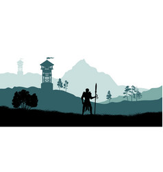 black silhouette of knight vector image