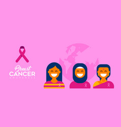 breast cancer care diverse girl group for support vector image